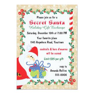 Père Noël secret avec le présent Carton D'invitation 12,7 Cm X 17,78 Cm