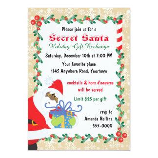 Père Noël secret ethnique avec le présent Carton D'invitation 12,7 Cm X 17,78 Cm