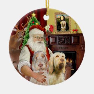Père Noël - Spinone Italiano (DEUX) Ornement Rond En Céramique
