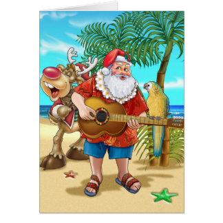 Père Noël sur la plage Carte De Vœux