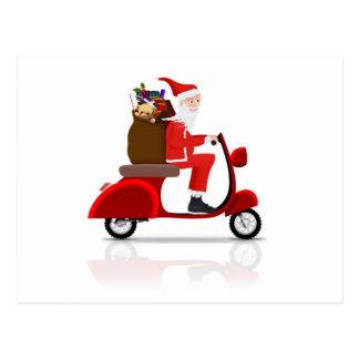 Père Noël sur le scooter Carte Postale