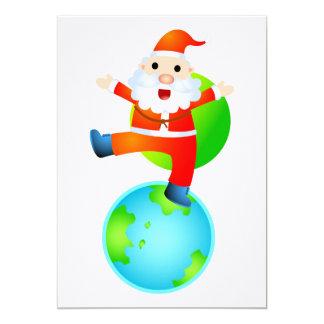 Père Noël sur le toit du monde Carton D'invitation 12,7 Cm X 17,78 Cm