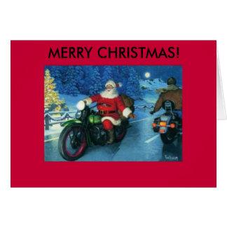 Père Noël sur une carte de Noël de moto