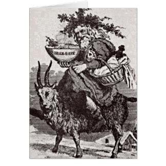 Père Noël sur une carte de voeux de chèvre