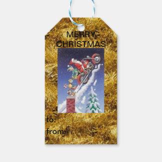 Père Noël sur une étiquette de cadeau de Noël de