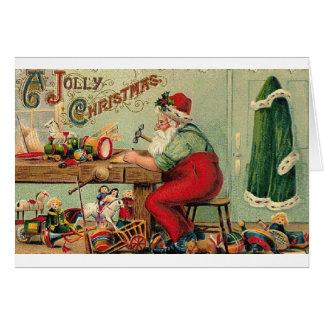 Père Noël victorien dans sa carte de Noël