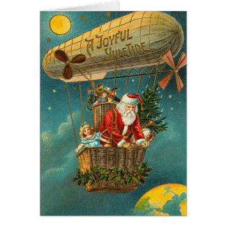 Père Noël victorien dans un ballon Cartes De Vœux