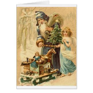Père Noël victorien et carte de Noël d'ange
