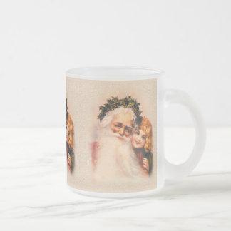 Père Noël victorien et fille Mug En Verre Givré