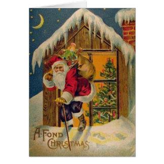 Père Noël victorien sur la carte de voeux de Noël