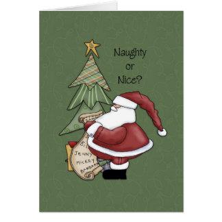 Père Noël - vilain ou Nice ? Carte De Vœux