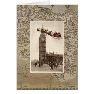 Père Noël vintage au-dessus de carte de Noël de