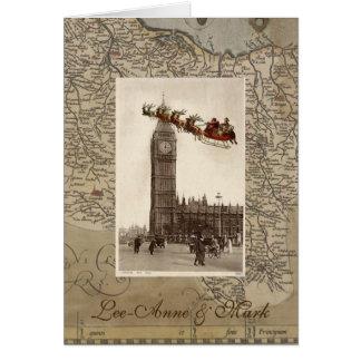 Père Noël vintage au-dessus d'invitation de Carte De Vœux