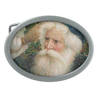 Père Noël vintage avec le casquette bleu Boucle De Ceinture Ovale