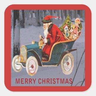 Père Noël vintage conduisant, autocollant moderne