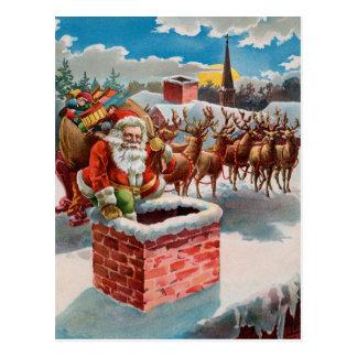 Père Noël vintage et cheminée Carte Postale