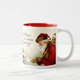 Père Noël vintage et enfant avec la lettre de Noël Mug Bicolore