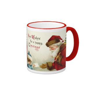 Père Noël vintage et enfant avec la lettre de Noël Mug Ringer