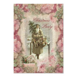 Père Noël vintage, fête de Noël rose de collage de Carton D'invitation 12,7 Cm X 17,78 Cm