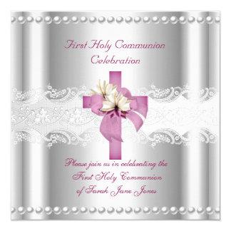 Perle argentée de rose de dentelle de première carton d'invitation  13,33 cm
