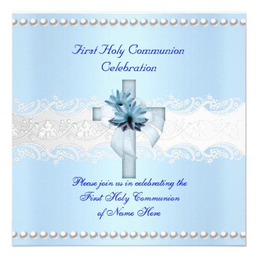 Perle blanche de bleu de dentelle de première faire-part personnalisés