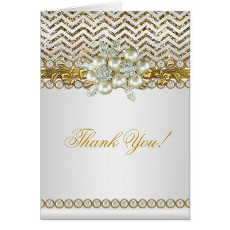 Perle blanche de diamant de Chevron d'or de Merci Cartes