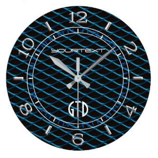 Perle bleue personnalisée de maille industrielle grande horloge ronde