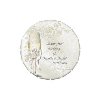 Perle de crème d'or de Merci de faveur de mariage Boites Jelly Belly