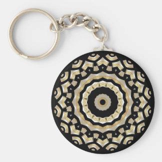 Perle de noir d'or de porte - clé (B8C) Porte-clé Rond