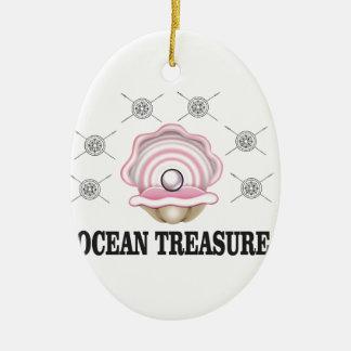 perle de trésor d'océan ornement ovale en céramique