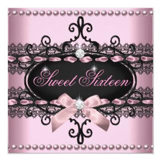 Perle noire rose de dentelle de sweet sixteen du carton d'invitation  13,33 cm