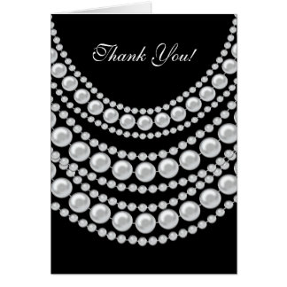 Perles blanches de carte de remerciements sur le