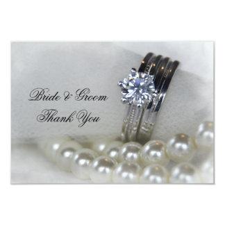 Perles de bagues à diamant épousant les notes carton d'invitation 8,89 cm x 12,70 cm