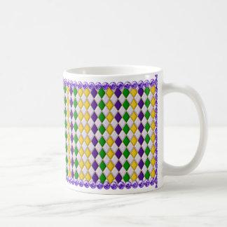 Perles de la tasse w/Purple de motif de harlequin