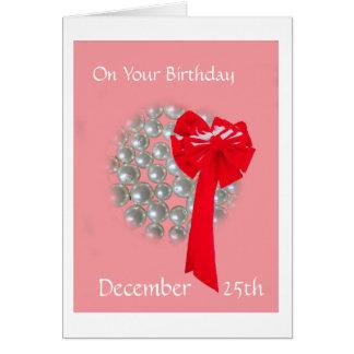 Perles et arc d'anniversaire de Noël Cartes