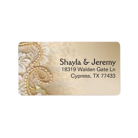 Perles et dentelle de Shayla expédiant la coquille Étiquette D'adresse