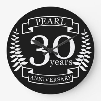 Perlez le 30ème anniversaire de mariage 30 ans grande horloge ronde