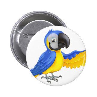 Perroquet bleu et jaune mignon badges avec agrafe