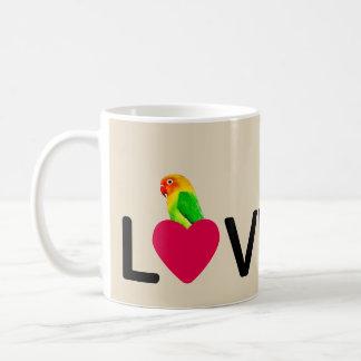 Perroquet d'amour de Birdy de tasse de café