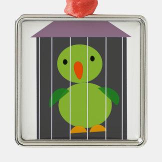 perroquet dans la cage ornement carré argenté