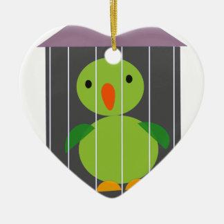 perroquet dans la cage ornement cœur en céramique