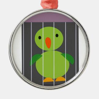 perroquet dans la cage ornement rond argenté
