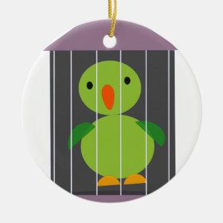 perroquet dans la cage ornement rond en céramique