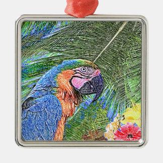 Perroquet d'arums ornement carré argenté