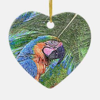 Perroquet d'arums ornement cœur en céramique