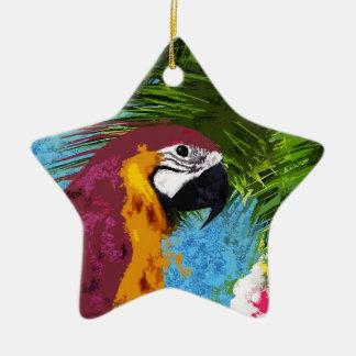 Perroquet d'arums ornement étoile en céramique