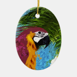 Perroquet d'arums ornement ovale en céramique