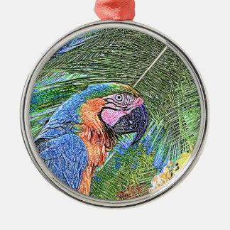 Perroquet d'arums ornement rond argenté