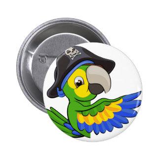 Perroquet de bande dessinée dans le casquette de badge