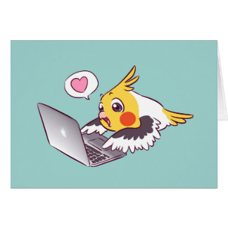 Perroquet de dessin mignon d'oiseau de Macbook de Carte De Vœux